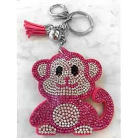 Scimmia Monkey Portachiavi,Morbido Ciondolo per Borsa Zaino da donna Fucsia