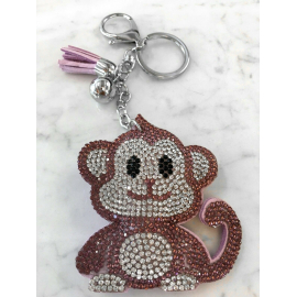 Scimmia Monkey Portachiavi,Morbido Ciondolo per Borsa Zaino da donna Viola