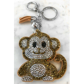Monkey Monkey Keychain, Soft Pendant for Bag Women's Backpack dark beige