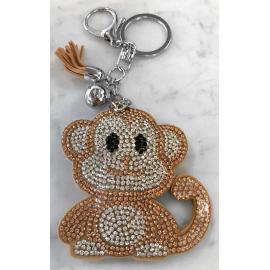 Scimmia Monkey Portachiavi,Morbido Ciondolo per Borsa Zaino da donna Beige Chiaro