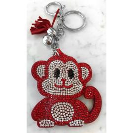 Scimmia Monkey Portachiavi,Morbido Ciondolo per Borsa Zaino da donna Rosso