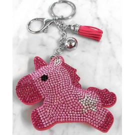 Unicorno Portachiavi 3D ,Morbido Ciondolo Borsa Zaino da Donna Fucsia