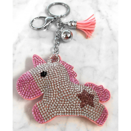 Unicorn 3D Keychain, Soft Pendant Women's Backpack Bag light pink