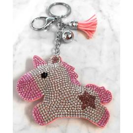 Unicorno Portachiavi 3D ,Morbido Ciondolo Borsa Zaino da Donna Rosa chiaro