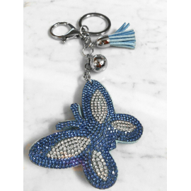 Butterfly 3D Keychain, Soft Pendant Women's Backpack Bag blue