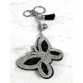Butterfly 3D Keychain, Soft Pendant Women's Backpack Bag silver black