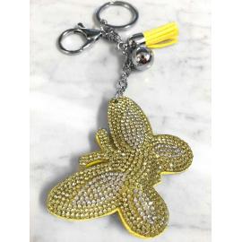 Farfalla Portachiavi 3D ,Morbido Ciondolo Borsa Zaino da Donna Giallo