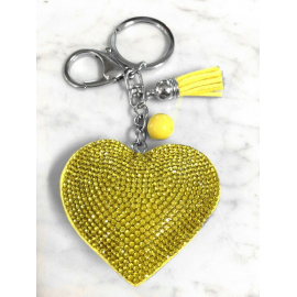 Small Heart 3D Keychain, Soft Pendant Women's Backpack Bag yellow