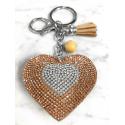 Small Heart 3D Keychain, Soft Pendant Women's Backpack Bag beige
