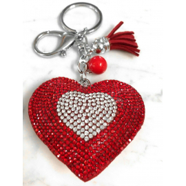 Small Heart 3D Keychain, Soft Pendant Women's Backpack Bag red