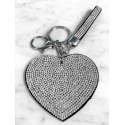 Heart Plate Keychain 3D, Soft Pendant Bag Women's Backpack silver black