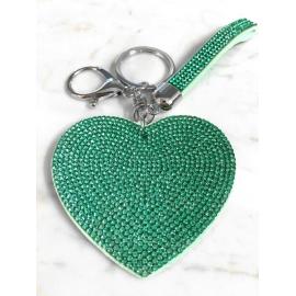 Cuore Piatto Portachiavi 3D ,Morbido Ciondolo Borsa Zaino da Donna verde