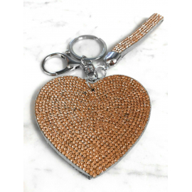Heart Plate Keychain 3D, Soft Pendant Bag Women's Backpack beige