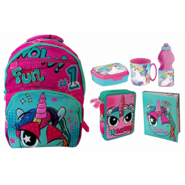 Mate Child Girl Unicorn Set 6p School Backpack, Case 3 zip, Diary, Snack set