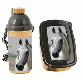 Love Horses Cavallo Oro Set Colazione Box Portamerenda,Borraccia Automatica