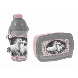 Love Horses White Horse Breakfast Set Snack Box, Automatic Bottle