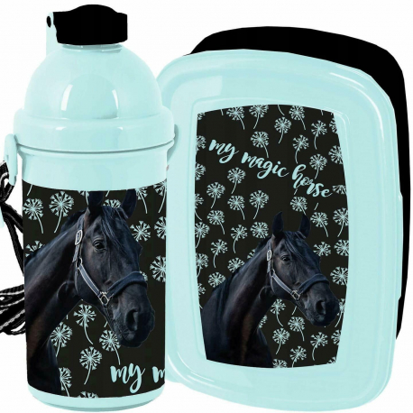 Love Horses Gold Horse Breakfast Set Storage Box, Automatic Bottle