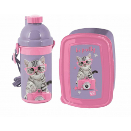 Cat He Pretty Breakfast Set Storage Box, Automatic Water Bottle School