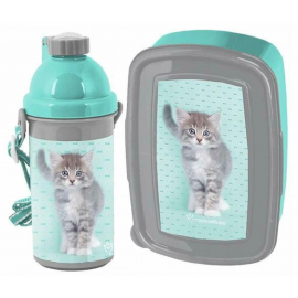 Kitty Cat Blue New Breakfast Set Storage Box, Automatic Bottle
