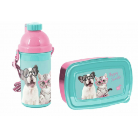 Happy Friends Dog and Cat Breakfast Set Storage Box, Automatic Bottle