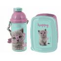 Happy Cat Breakfast Set Storage Box, Automatic Water Bottle School