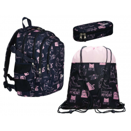 St.Right CATS set Backpack 43x33x20cm, Case, Sports Bag Medium School Girl