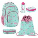 Flamingo set 5p Backpack + Case + Bag + Port Snack School Medium, Higher