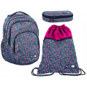 Flowers Jeans set Backpack + Case + Sports Bag, Medium School, Girl High