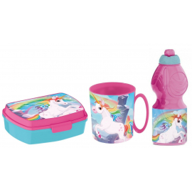 Unicorn Breakfast Set, Storage Box + Bottle + Cup, School, Kindergarten, Children