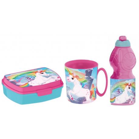 Batman Breakfast Set, Storage Box + Bottle + Cup, School, Kindergarten, Children