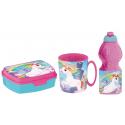 Unicorn Breakfast Set, Storage Box + Bottle + Cup, School, Kindergarten, Children