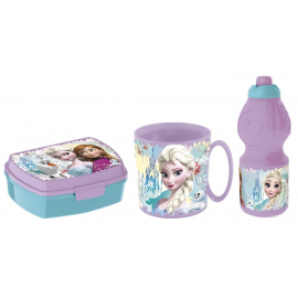 Frozen Never Breakfast Set, Storage Box + Bottle + Cup, School, Kindergarten, Children
