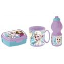 Frozen Never Breakfast Set, Storage Box + Bottle + Cup, School, Kindergarten, Children