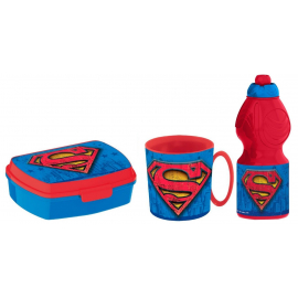 Superman Breakfast Set, Storage Box + Bottle + Cup, School, Kindergarten, Children