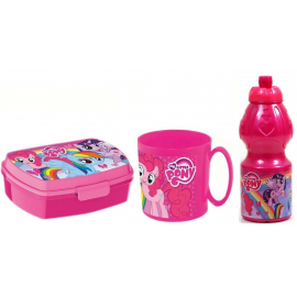 My Little Pony Breakfast Set, Storage Box + Bottle + Cup, School, Kindergarten, Children