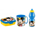 Mickey Mouse Breakfast Set, Storage Box + Bottle + Cup, School, Kindergarten, Children