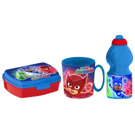 Pj Mask Breakfast Set, Storage Box + Bottle + Cup, School, Kindergarten, Children