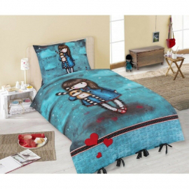 Gorjuss Single Bed Duvet Cover Set 140x200 + Blue Doll Pillowcase