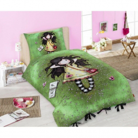 Gorjuss Single Bed Duvet Cover Set 140x200 + Green Doll Pillowcase