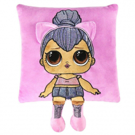 LOL Surprise Pillow with Doll Embroidered Application 30x30cm Lilla