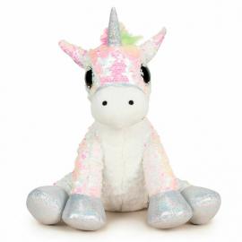 Unicorno Peluche con Paillettes Reversibile 33 cm Colore Bianco