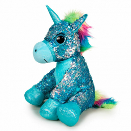 Unicorn Plush with Sequins Reversible 33 cm Color Blue