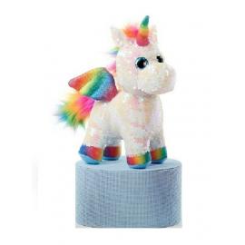 Unicorno Peluche con Paillettes Reversibile in piedi 30cm Colore Bianco