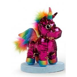 Unicorno Peluche con Paillettes Reversibile in piedi 30cm Colore Fucsia