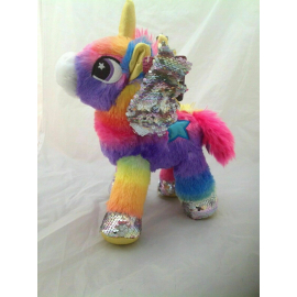 Unicorn Plush with Rainbow Sequins standing 30cm Color Silver