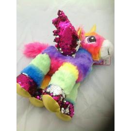 Unicorno Peluche con Paillettes Rainbow in piedi 30cm Colore Fucsia