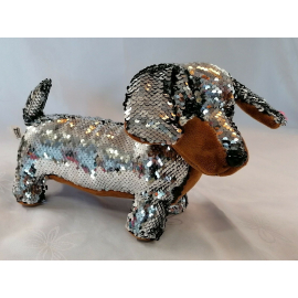 Dachshund Dog Plush with Sequins Reversible 30cm long Color Silver