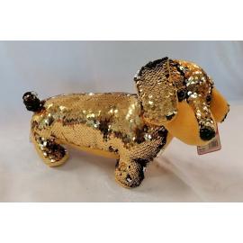 Bassotto Cane Peluche con Paillettes Reversibile lungo 30cm Colore Oro