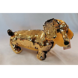 Dachshund Dog Plush with Sequins Reversible 30cm long Color Gold