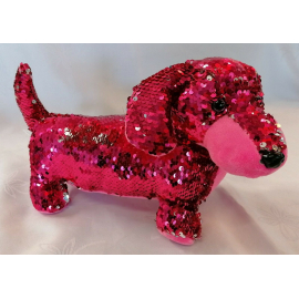 Dachshund Dog Plush with Sequins Reversible 30cm long Color Fucsia